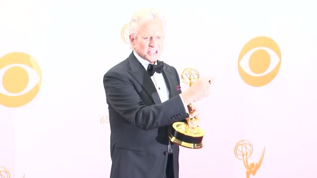 michael douglas at 65th annual primetime emmy awards - photo room michael douglas at 65th annual primetime emmy at nokia theatre l.a. live on... - michael douglas stock videos & royalty-free footage