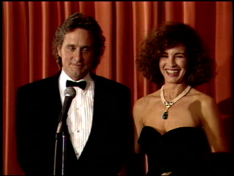 michael douglas at the 1989 golden globe awards at the beverly hilton in beverly hills, california on january 28, 1989. - michael douglas stock videos & royalty-free footage
