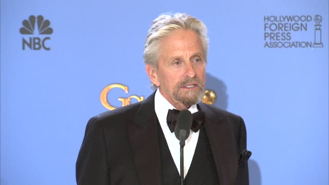 INTERVIEW Michael Douglas at the 71st Annual Golden Globe Awards Press Room at The Beverly Hilton Hotel on in Beverly Hills California