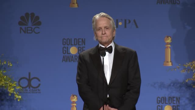 michael douglas at the 76th annual golden globe awards - press room at the beverly hilton hotel on january 06, 2019 in beverly hills, california. - michael douglas stock videos & royalty-free footage