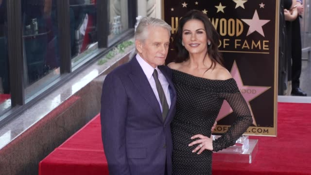 michael douglas & catherine zeta-jones at michael douglas honored with a star on the hollywood walk of fame on november 06, 2018 in hollywood,... - michael douglas stock videos & royalty-free footage