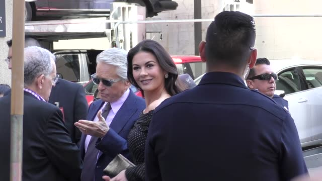 michael douglas & catherine zeta-jones sign for fans at michael douglas' star ceremony on the hollywood walk of fame in hollywood in celebrity... - michael douglas stock videos & royalty-free footage