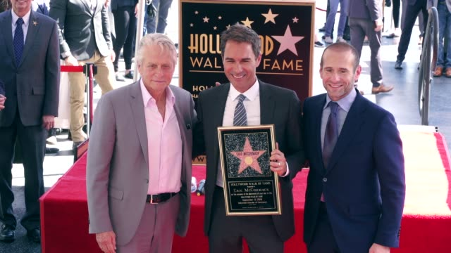 michael douglas, eric mccormack and max mutchnick at the eric mccormack honored with a star on the hollywood walk of fame on september 13, 2018 in... - eric mccormack stock videos & royalty-free footage