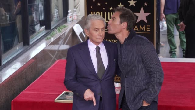 michael douglas & eric mccormack at michael douglas honored with a star on the hollywood walk of fame on november 06, 2018 in hollywood, california. - eric mccormack stock videos & royalty-free footage
