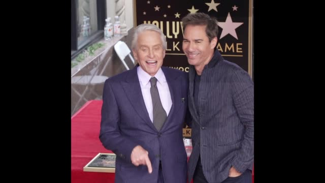 michael douglas & eric mccormack at michael douglas honored with a star on the hollywood walk of fame - eric mccormack stock videos & royalty-free footage