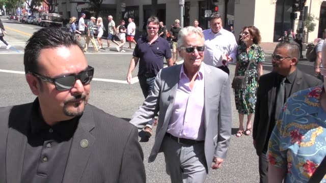 michael douglas heads to katsuya after eric mccormack's star ceremony on the hollywood walk of fame in hollywood in celebrity sightings in los... - eric mccormack stock videos & royalty-free footage