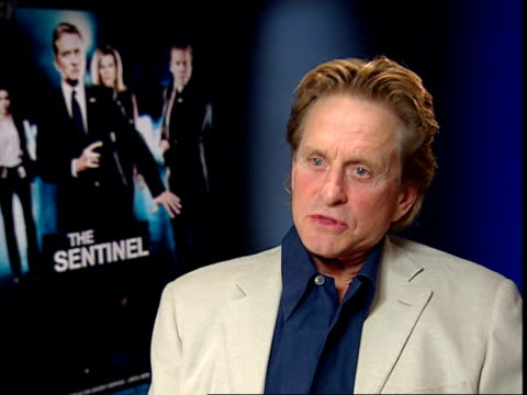 michael douglas interview; england: london: int michael douglas interview sot - well i don't know many saints out there in world, don't know that... - producer stock videos & royalty-free footage