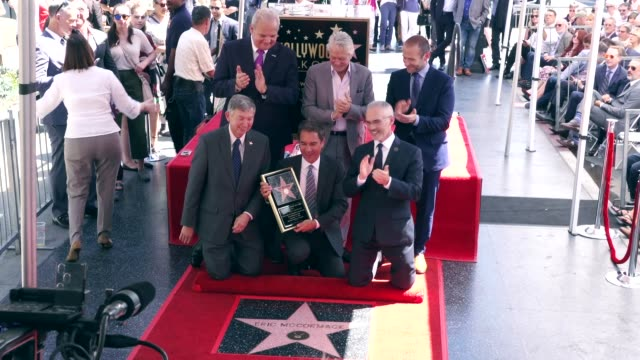 michael douglas, max mutchnick and eric mccormack at the eric mccormack honored with a star on the hollywood walk of fame on september 13, 2018 in... - eric mccormack stock videos & royalty-free footage