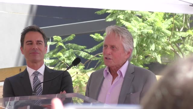 michael douglas speaks onstage at eric mccormack's star ceremony on the hollywood walk of fame in hollywood in celebrity sightings in los angeles, - eric mccormack stock videos & royalty-free footage