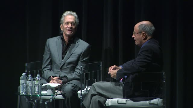 Michael Douglas talking about giving advice to Jesse Eisenberg and young actors at the Michael Douglas Receives The Icon Award At 2011 Palm Springs...