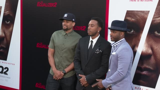 michael ealy ludacris and larenz tate at the the equalizer 2 premiere at tcl chinese theatre on july 17 2018 in hollywood california - larenz tate stock videos and b-roll footage
