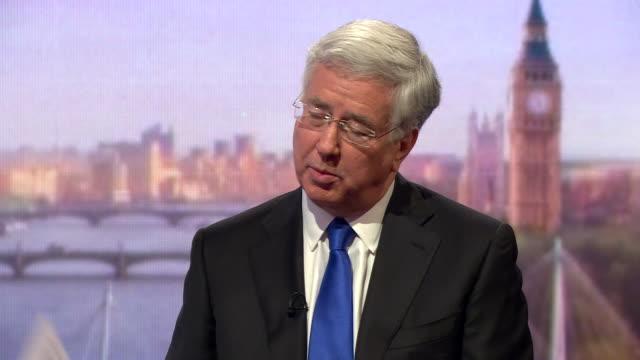 michael fallon saying he regrets voting in favour of the iraq war on the basis of wmd's and then criticises labour's approach to war - massförstörelsevapen bildbanksvideor och videomaterial från bakom kulisserna