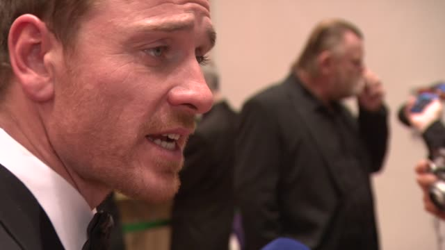 michael fassbender and brendan gleeson at the iftas at convention centre dublin, ireland on february 11th 2012 - irish film and television awards stock videos & royalty-free footage