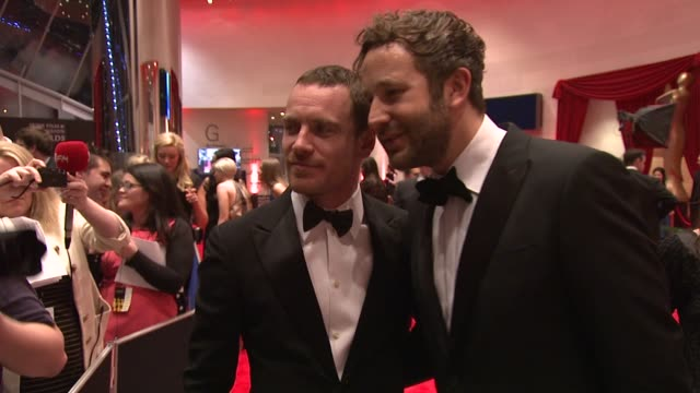 michael fassbender and chris o'dowd at the iftas at convention centre dublin, ireland on february 11th 2012 - irish film and television awards stock videos & royalty-free footage