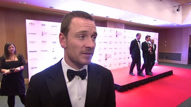 michael fassbender on winning, on the nude scenes at the iftas at convention centre dublin, ireland on february 11th 2012 - irish film and television awards stock videos & royalty-free footage