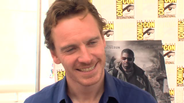 michael fassbender on working with megan fox at the comiccon 2009 jonah hex press line at san diego ca - megan fox stock videos and b-roll footage