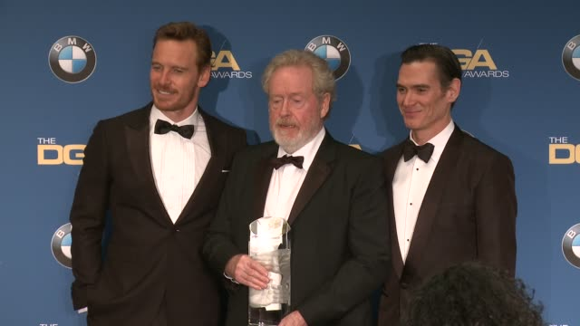 michael fassbender, ridley scott, billy crudup at 69th annual directors guild of america awards in los angeles, ca 2/4/17 - director's guild of america stock videos & royalty-free footage
