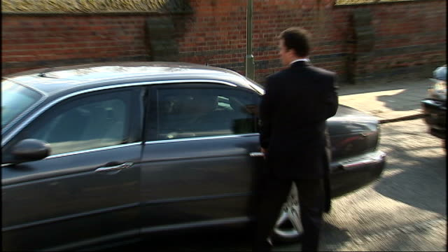 Michael Foot funeral arrivals Harriet Harman MP arriving BV Mourners going into crematorium Gordon Brown MP arrives by car with wife Sarah Brown Ed...