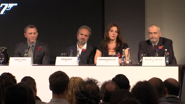 michael g wilson on continuing the direction casino royale started at the bond 23 launch press conference skyfall at london england - skyfall stock videos and b-roll footage