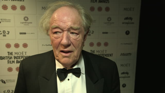 vidéos et rushes de michael gambon on his first film award, his part in 'harry potter' at british independent film awards winners interviews at old billingsgate market... - harry potter titre d'œuvre