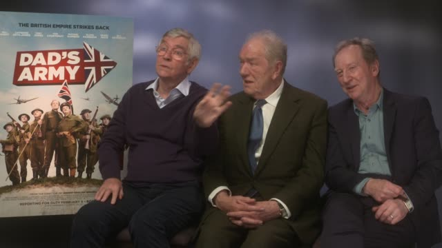 interview michael gambon tom courtenay bill paterson on coming straight off '45 years' deeper acting in '45 years' at 'dad's army' junket at the... - tom courtenay stock videos & royalty-free footage