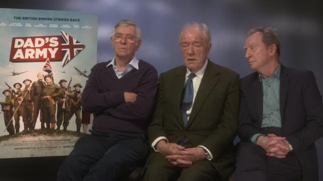 interview michael gambon tom courtenay bill paterson on the new 'harry potter' the new young dumbledore at 'dad's army' junket at the corinthia hotel... - tom courtenay stock videos & royalty-free footage