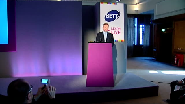 Michael Gove attacks teaching of IT in schools ENGLAND PHOTOGRAPHY** Michael Gove MP delivering speech at BETT Learn Live event