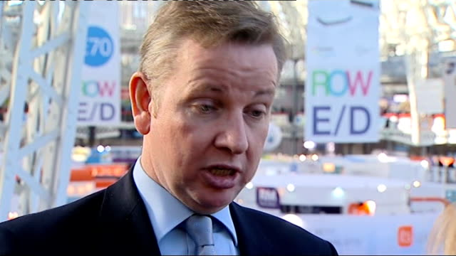 Michael Gove attacks teaching of IT in schools Michael Gove MP along through BETT Show 2012 with others Michael Gove interview SOT the current...