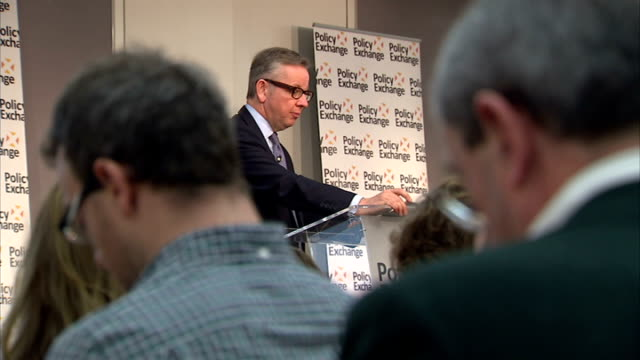 michael gove criticised over alleged plot at birmingham schools england london policy exchange int michael gove mp into room to deliver speech close... - michael gove stock-videos und b-roll-filmmaterial