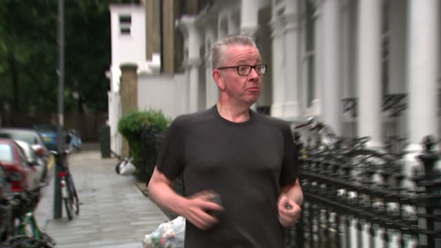 Michael Gove returning home from a run