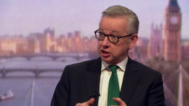 michael gove saying brexit has put a strain on friendships and relationships in politics in reference to nick boles - michael gove stock-videos und b-roll-filmmaterial