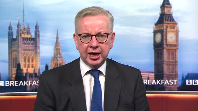 """michael gove saying """"we can be confident"""" that increased vaccinations by 19th july will allow coronavirus restrictions to be relaxed - confidence stock videos & royalty-free footage"""