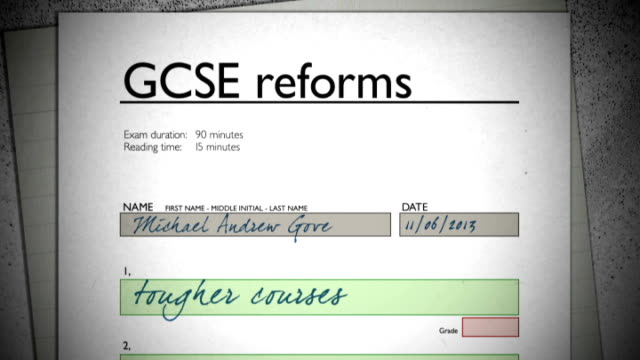 michael gove sets out gcse reforms gcse reforms - general certificate of secondary education stock videos & royalty-free footage