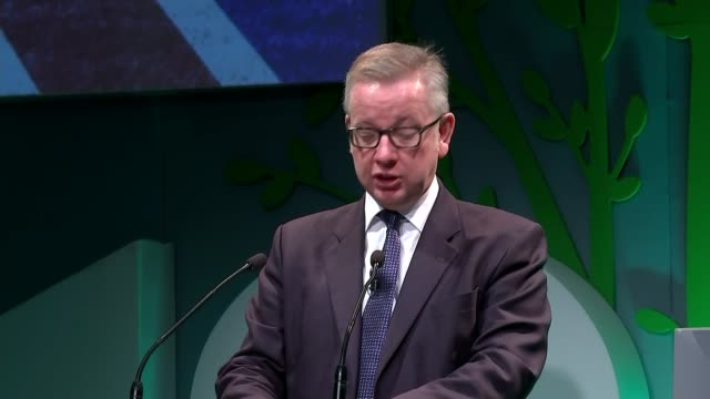Michael Gove speech at Oxford Farming Conference ENGLAND Oxfordshire Oxford INT Michael Gove MP speech SOT re Brexit / increased demand /...