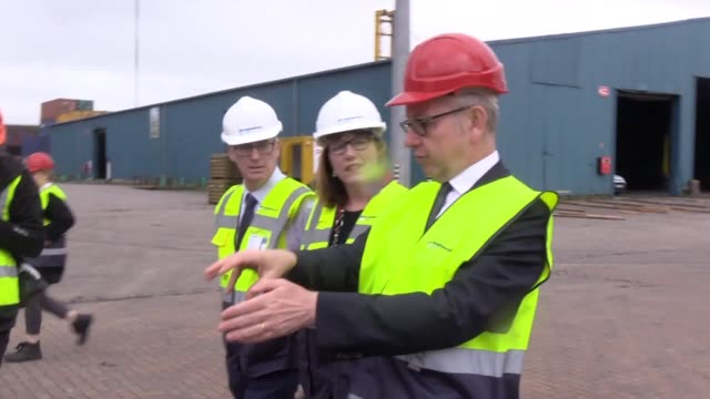 michael gove the cabinet minister responsible for brexit nodeal planning pays a visit to warrenpoint port on the irish border on friday mr gove... - security stock videos & royalty-free footage