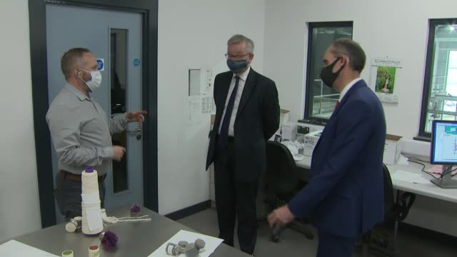 michael gove tours ulster carpets; northern ireland: county armagh: portadown: int michael gove mp arriving various shots gove along as speaking with... - ulster county stock videos & royalty-free footage