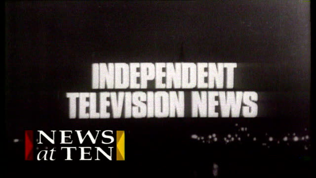 michael grade switches from bbc to become itv executive chairman file / date unknown b/w archive titles to 'news at ten' - itv news at ten stock videos & royalty-free footage