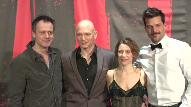 michael grandage, michael cerveris, elena roger and ricky martin at evita broadway revival curtain call and press conference on in new york - revival stock videos & royalty-free footage