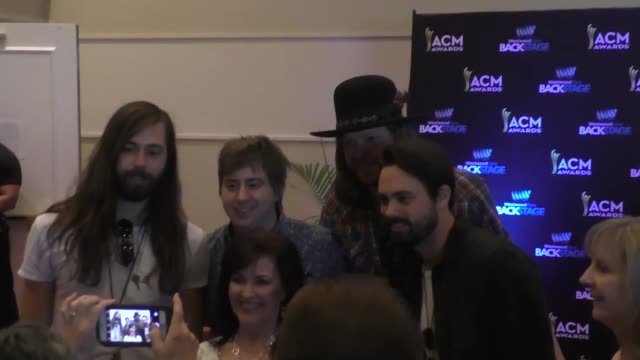 Michael Hobby Bill Satcher Zach Brown and Graham Deloach of A Thousand Horses at the 51st Academy of Country Music Awards radio row at the MGM Grand...