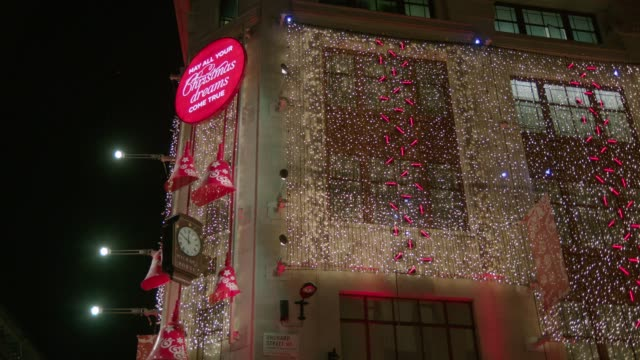 michael house at christmas, oxford street - fairy lights stock videos & royalty-free footage