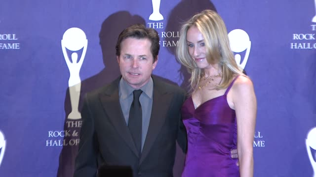 Michael J Fox and Tracy Pollan at the 23rd Annual Rock and Roll Hall of Fame Induction Ceremony press room at the Waldorf Astoria in New York New...