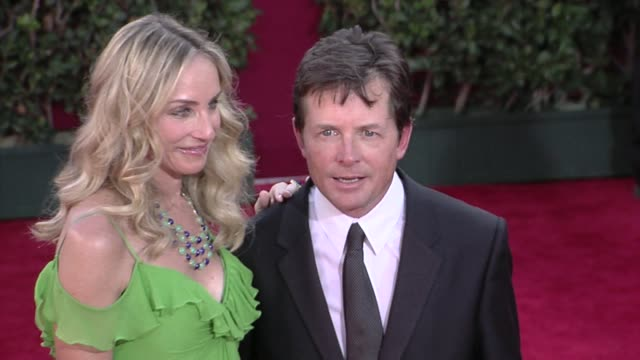 michael j fox and tracy pollan at the 61st annual primetime emmy awards arrivals part 4 at los angeles ca - michael j. fox stock videos and b-roll footage