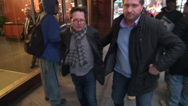 michael j fox leaving madison square garden after the ny knicks game celebrity sightings in new york on in new york city - michael j. fox stock videos and b-roll footage