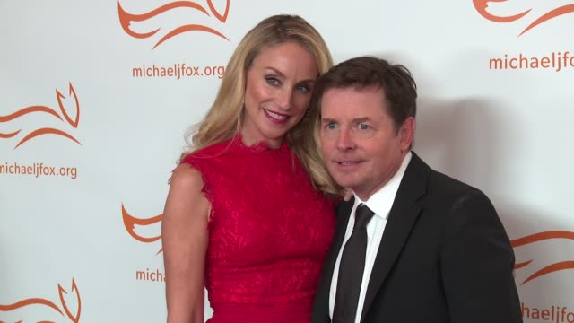 michael j fox tracy pollan at 2016 a funny thing happened on the way to cure parkinson's at waldorf astoria hotel on november 12 2016 in new york city - michael j. fox stock videos and b-roll footage