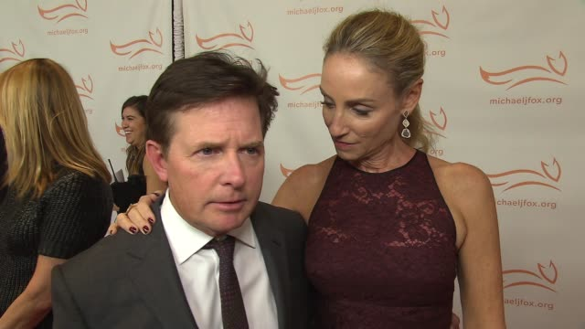 INTERVIEW Michael J Fox Tracy Pollan on the night's events at 2015 A Funny Thing Happened On The Way To Cure Parkinson's at Waldorf Astoria Hotel on...