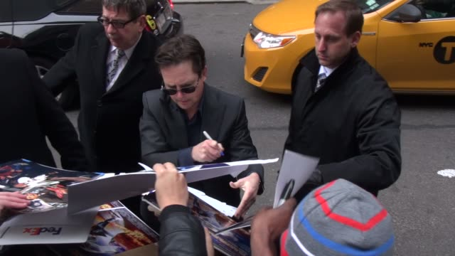 michael j fox with fans at the 'late show with david letterman' studio at celebrity sightings in new york in new york ny on - michael j. fox stock videos and b-roll footage