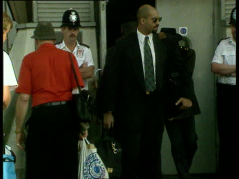 michael jackson and wife lisa marie presley at heathrow airport; england: london: heathrow airport: ext lms side concorde aeroplane taxiing r-l side... - lisa marie presley stock videos & royalty-free footage