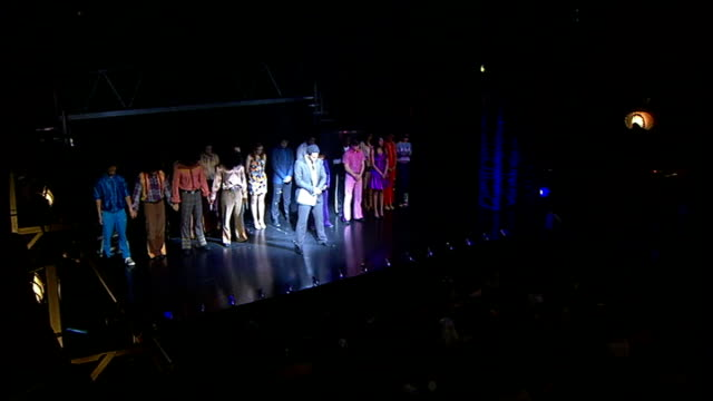 tributes by cast of 'thriller' musical england london lyric theatre int curtain rises to show thriller live cast on stage audience cheers sot roger... - cast member stock videos and b-roll footage
