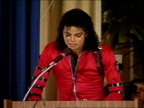 michael jackson on stage in the michael jackson auditorium making speech about teachers children being our future - pop musician stock videos & royalty-free footage