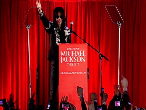 michael jackson signals to fans during 'this is it' tour press conference london 5 march 2009 - popular music tour stock videos and b-roll footage